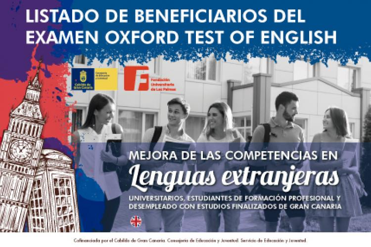 Listado beneficiarios acreditación Oxford Test of English